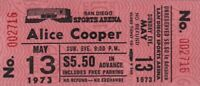 ALICE COOPER 1973 BILLION DOLLAR BABIES TOUR UNUSED SAN DIEGO TICKET / NMT 2 MNT