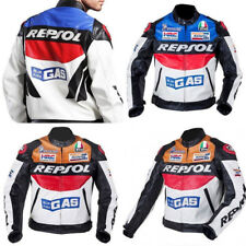 REPSOL Men Motorcycle Leather Racing Suits Armor Riding Protective Jacket Coat