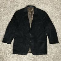 Lauren Ralph Lauren Men's Blazer Size 46 Long Black Corduroy Suit Jacket Lined