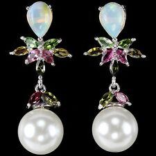 NATURAL AAA RAINBOW OPAL, TOURMALINE & WHITE PEARL 925 STERLING SILVER EARRING