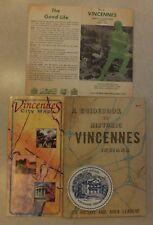 VTG LOT VINCENNES INDIANA:1965 GUIDEBOOK  BROCHURE CITY MAP PAPER COASTER