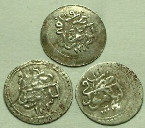 Lot of 3 Genuine Islamic silver para coins/Selim III/Ottoman Empire/Cairo, Egypt