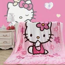 "Kawaii Anime Hello Kitty Cat Plush Soft Silky Flannel Blanket Bedding 79""x59"""