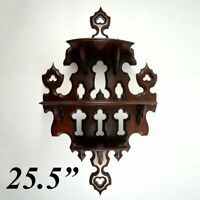 """Antique French 25.5"""" Tall Wall Shelf, 3-Tier Display, Beveled Carved Wood"""