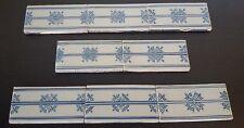 RARE Vintage MAKKUM Crown Mark HOLLAND LOT 8 TILES DELFT BLUE Dutch BORDER TRIM