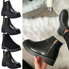 Ladies Zip Up Chelsea Ankle Boots Women Chunky Block Mid Heels Casual Shoes Size