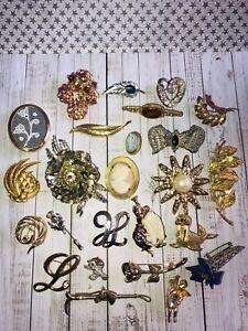 Vintage Jewellery Job Lot Of Mixed Era Costume 25 Brooch Pins #1