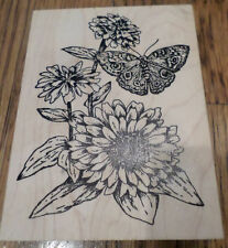 Serendipity Stamps  2004 Butterfly Garden Botanical Collage Wooden Rubber Stamp
