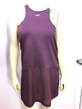 Reebok Play Dry Racerback Tennis Dress Large Mesh Bottom Purple Built in Bra