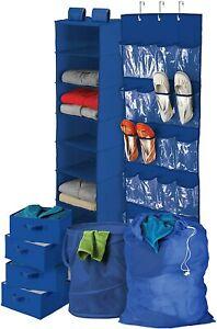 Honey Can Do Blue 8-Piece Bedroom Closet & Laundry Organizer Dorm Shoes Clothes
