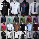 uomo slim ABITI DA CERIMONIA camicia manica lunga moda casual bottoni t-shirt