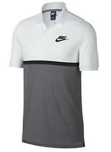 Nike NSW  Men's White/Gray Colorblock Mesh Matchup Short Sleeve Polo Shirt