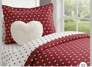 NEW Red/White Pottery Barn Kids Heart Flannel Twin Duvet Cover And Sham