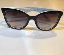 Black and white Plastic Retro Square Sunglasses Gray/ Purple Smoked Lenses