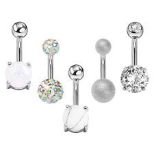 Stainless Steel Bar Barbells Body Piercing 5Pcs Crystal Navel Belly Button Ring