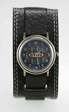 Relic Watch Mens Blue Green Stainless Silver Water Res Batt Black Leather Quartz