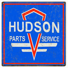 "Hudson Parts And Service Motor Oil And Gas Vintage Looking 12""x 12"" Station Sign"
