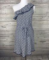 Mud Pie Women's Blue / White One Shoulder Ruffle Dress Pom Pom Trim Size Small