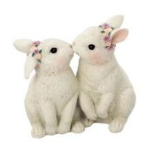Osterhasen Paar 10,5cm küssend Beige Handarbeit Osterhase Ostern Osterdeko Liebe