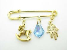 18kt Gold Plated Rocking Horse Evil Eye Crystal Hamsa Kabbalah Baby Pin Stroller