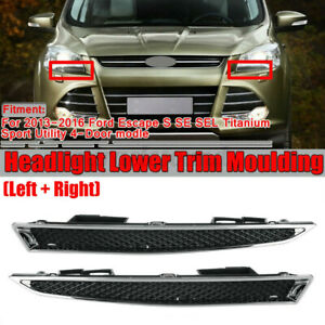 2x Headlight Lower Left + Right Trim Moulding For Ford Escape 4-Door 2013-2016