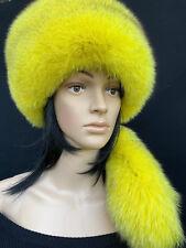 Fox Fur Pillbox Hat Saga Furs Regular Women's Size Full Fox Yellow Hat