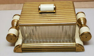 Antique Box Biscuits Tray Mirror Glass And Wood Brass Art Deco