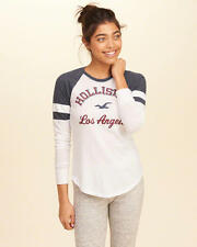 Abercrombie & Fitch – Hollister T-Shirt Womens Raglan Graphic Top M White NWT