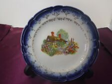 Vintage French Saxon China Flow Blue 22 K Gold Country Cottage Bread Plate USA