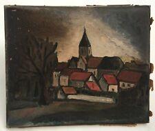Tableau ancien, Huile sur toile, Village avec église, XXe