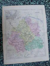 Carte géographique couleur 19°:  L'INDRE avec le plan de CHATEAUROUX