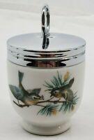 VINTAGE Royal Worcester Porcelain England Egg Coddler with Lid Birds Sparrows