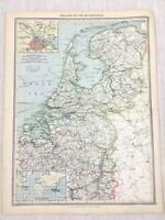 1909 Ancien Carte De Holland The Pays-Bas Amsterdam Hollandais George Philip