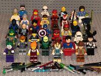 LEGO LOT OF 10 RANDOM MINIFIGURES W/ACCESSORY STAR WARS SUPERHERO TOWN SPACE