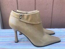 NEW Nine West O-PAM-O Women US 7.5M Brown Leather Ankle Boots Pointed Toe $149