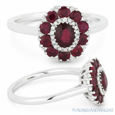 Right-Hand Flower Ring in 18k White Gold 1.34 ct Red Ruby & Diamond Pave Cluster