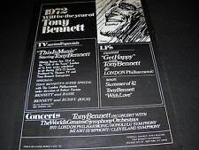 Tony Bennett 1972 Will Be His Year Promo Display Ad mint condition