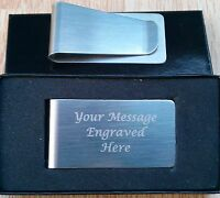 Personalised Engraved Stainless Steel Money Clip Christmas Birthday Gift Custom