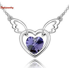 White Gold Filled Amethyst Purple Crystal Heart Angle Wing Necklace N294