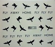 Nail Art Pegatinas Transfers Calcomanías De Agua Negro Golondrinas Pájaros Fly Away Home 135B