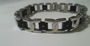 Men's Black and Stainless Steel Diamond Bracelet- REDUCED