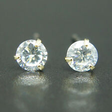 14k Yellow Gold plated simulated Diamond cut crystals unisex solitaire earrings
