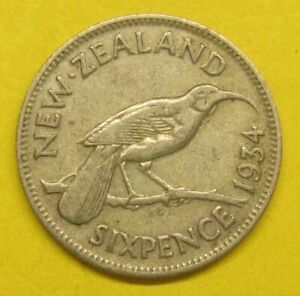 1934 Silver New Zealand Six Pence Take a Look
