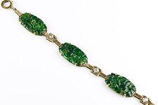 Vintage Art Deco 14K Gold Carved Jade & Diamond Bracelet  Great Design  EBSR05