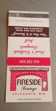 Vintage Matchbook Fireside Lounge Caledonia Wisconsin Five Mile Road Restaurant