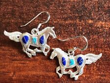 Horse Earrings | Sterling Silver & Semiprecious Stone | Lapis Opal | Made in USA