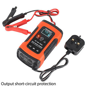 Smart Car Motorcycle Battery Charger 12V LCD Display Charger With UK Plug