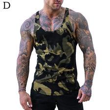 Men Sleeveless T-Shirt Vest Top Camouflage 3D Printing Vest Bodybuilding Summer