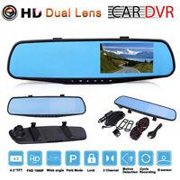 """4.3"""" HD 1080P Dual Lens Car DVR Rétroviseur Magnétoscope Dash Cam G-sensor"""