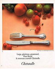 PUBLICITE ADVERTISING 084  1975  CRISTOFLE  art de la table couverts PORT ROYAL